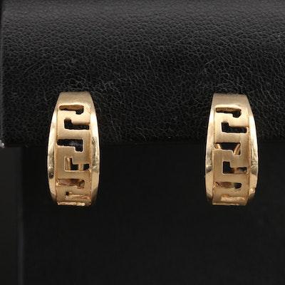 14K Greek Key Half Hoop Earrings