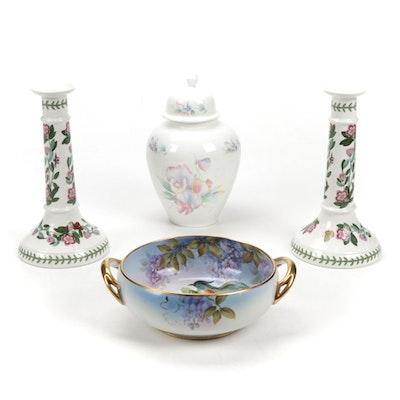 "Portmeirion ""Botanic Garden"" Candlesticks, Noritake Bowl and Ansley Ginger Jar"