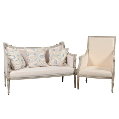 Gustavian Carved and Painted Frame Linen-Upholstered Settee and Armchair, 20th C