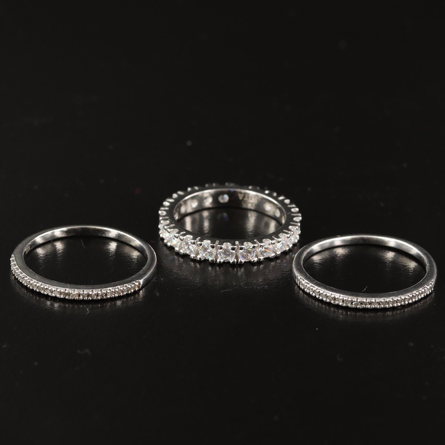 Sterling Diamond and Cubic Zirconia Bands Featuring Eternity Band