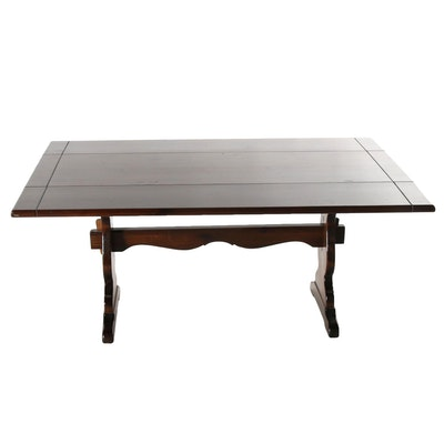 Early American Style Pine Drop-Leaf Trestle Table, Mid-20th C.