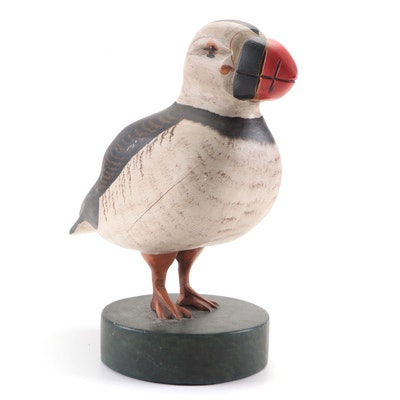 Wooden Puffin Figurine by J.A. Tilton, 1988