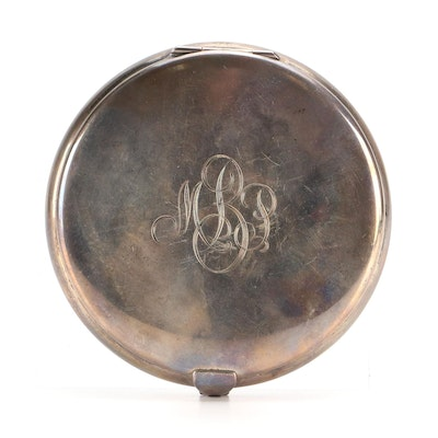 Tiffany & Co. Sterling Silver Monogramed Compact, Mid to Late 20th Century