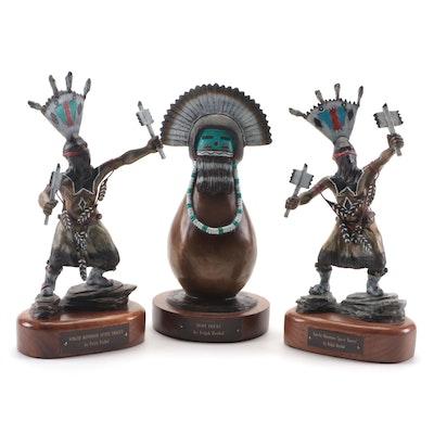 "Ralph Roybal Bronze "" Hopi Plume"" and ""Apache Mountain Spirit Dancer"" Figurines"