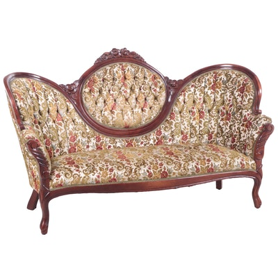 Victorian Style Carved Walnut Finish Sofa with Floral Upholstery, Mid 20th C.