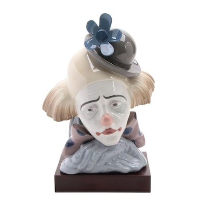"""Lladró """"Clown's Head with Bowler Hat"""" Porcelain Bust with Display Stand"""