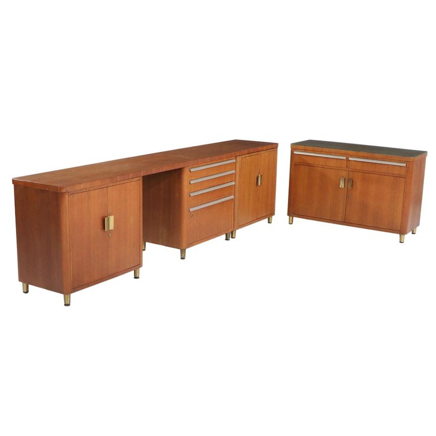 Stow & Davis Mid Century Modern Walnut Office Furniture, 1960s