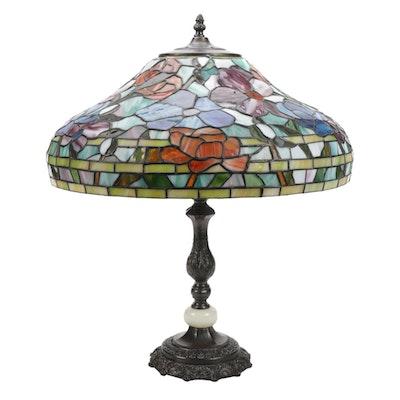 Art Nouveau Style Slag Glass Flowers Accent Lamp, Late 20th Century