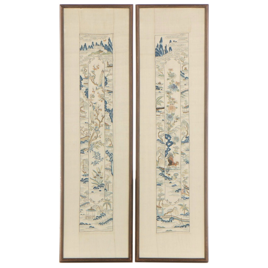 East Asian Embroidered Silk Panels