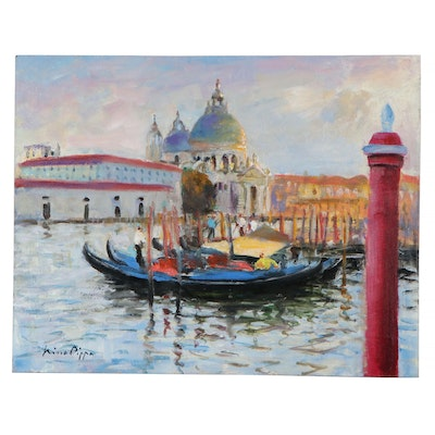 """Nino Pippa Oil Painting """"Venice - Grand Canal by La Salute,"""" 2018"""