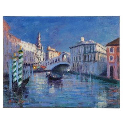 "Nino Pippa Oil Painting ""Venice Twilight by Rialto,"" 2015"
