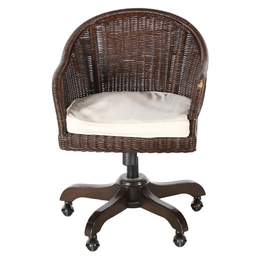 Outlook International Wood, Wicker and Metal Adjustable Desk Chair