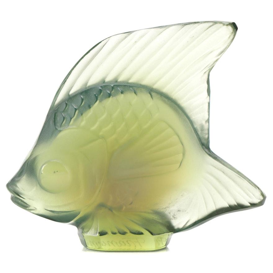 Lalique Antienea Green Crystal Fish Figurine