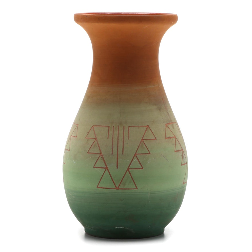 Red Feather Sioux Incised Pottery Vase