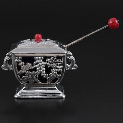 Japanese Silver Tone Metal and Cobalt Glass Salt Cellar, 1945-1952