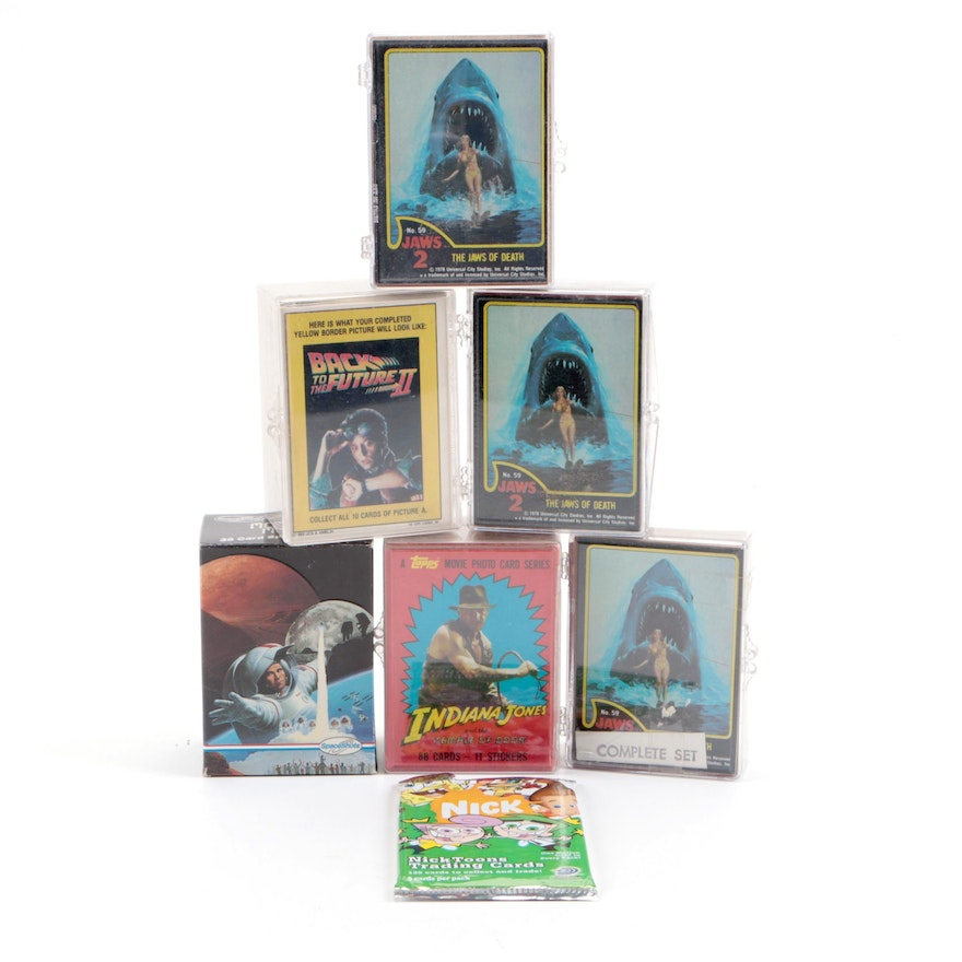 """Movie Trading Card Sets of """"Back to The Future"""", """"Indiana Jones"""", """"Jaws"""", More"""
