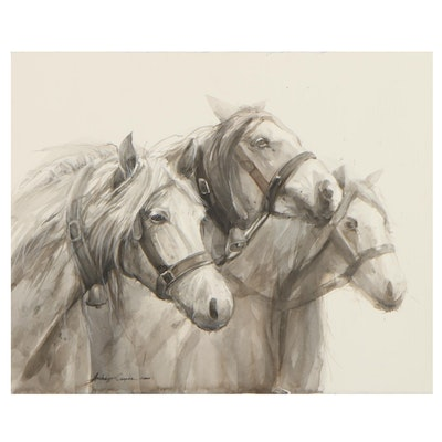 Watercolor Painting of White Horses, 2020