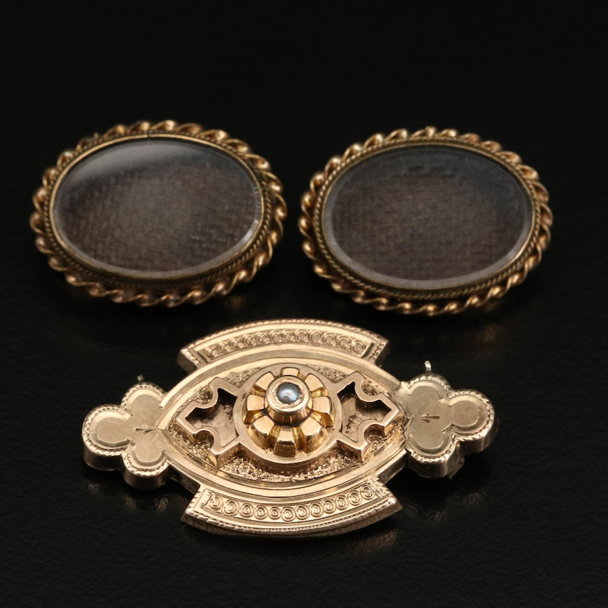 Victorian Mourning Brooches and 14K Pearl Brooch