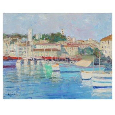 """Nino Pippa Oil Painting """"French Riviera - Cannes,"""" 21st Century"""
