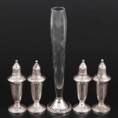 Empire Sterling Silver Shakers with Duchin Creation Sterling and Glass Bud Vase