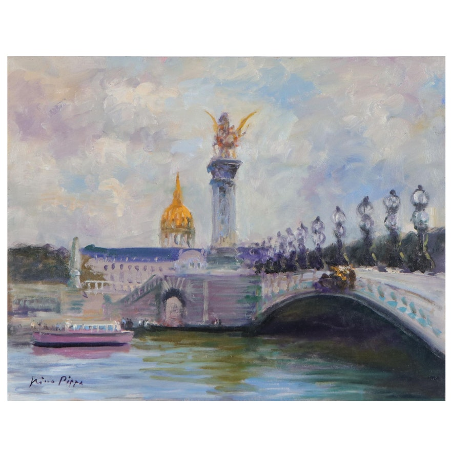 "Nino Pippa Oil Painting ""Paris - Pont Alexandre III,"" 21st Century"