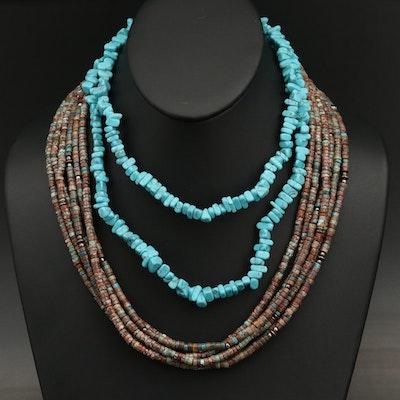 Faux Turquoise Beaded Necklaces