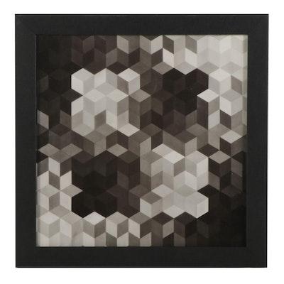 """Victor Vasarely Op Art Halftone From """"Vasarely II,"""" 1970"""