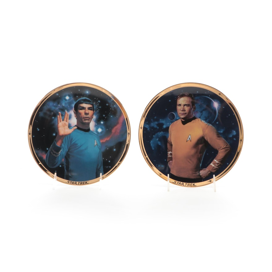 """""""Star Trek"""" 25th Anniversary """"Kirk"""" and """"Spock"""" Limited Edition Collector Plates"""