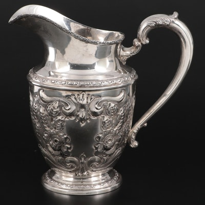 """Frank M. Whiting & Co. """"Talisman Rose"""" Sterling Silver Water Pitcher, c. 1948"""