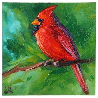 Elena Ray Oil Painting of Cardinal, 21st Century