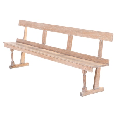 Cerused Oak Long Bench, Late 20th Century