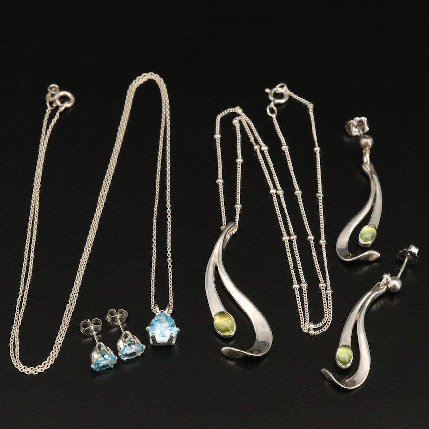 Sterling Swiss Blue Topaz and Peridot Necklace and Earring Sets