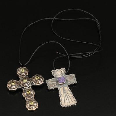 Diane Malouf Sterling Cross Converter Brooch and La Luna Cross Pendant Necklace