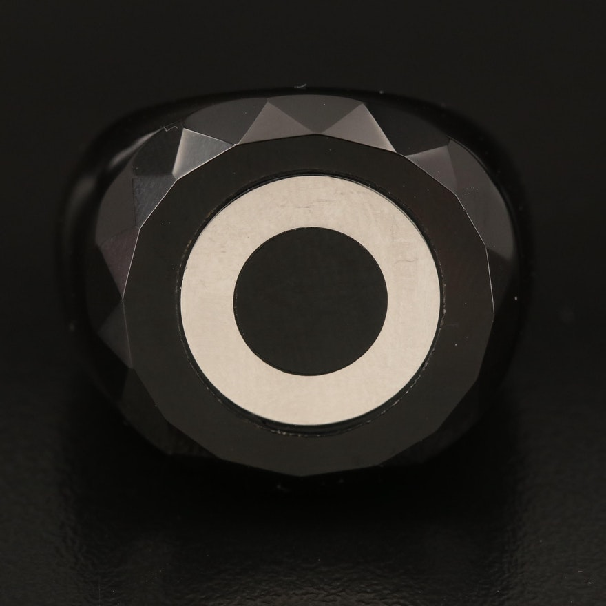 Black Onyx Hololith Ring