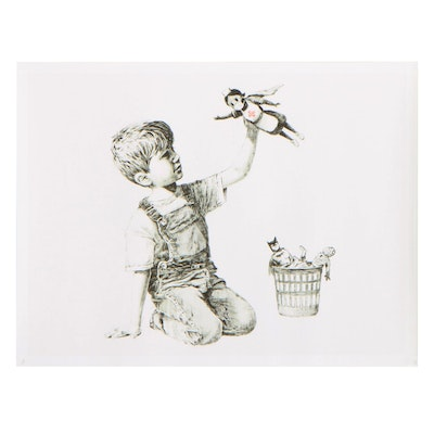"""Giclée After Banksy of Boy With Nurse Doll """"Game Changer"""""""