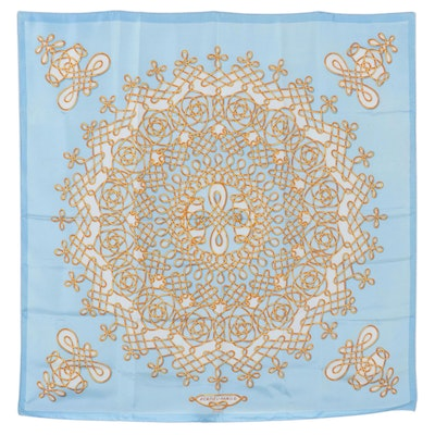 """Hermès Early Issue """"Pour Piaget"""" Silk Twill Scarf"""