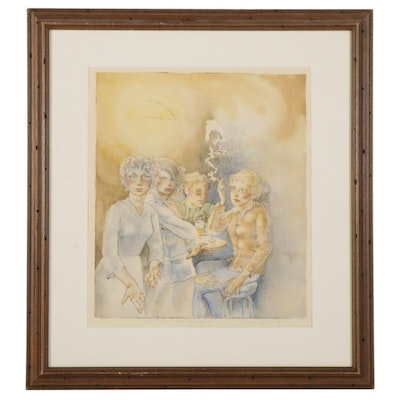 """Thomas Stubbs Hand-Colored Etching """"Self Portrait With Mannequin,"""" 1980"""