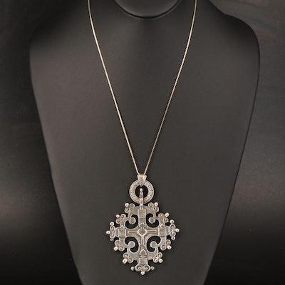 Vintage Guglielmo Cini Sterling Boston Crusader Maltese Cross Pendant Necklace