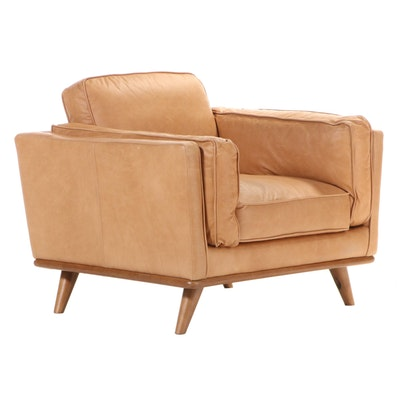 """Article """"Timber"""" Modernist Style Lounge Chair in Charme Tan Leather"""