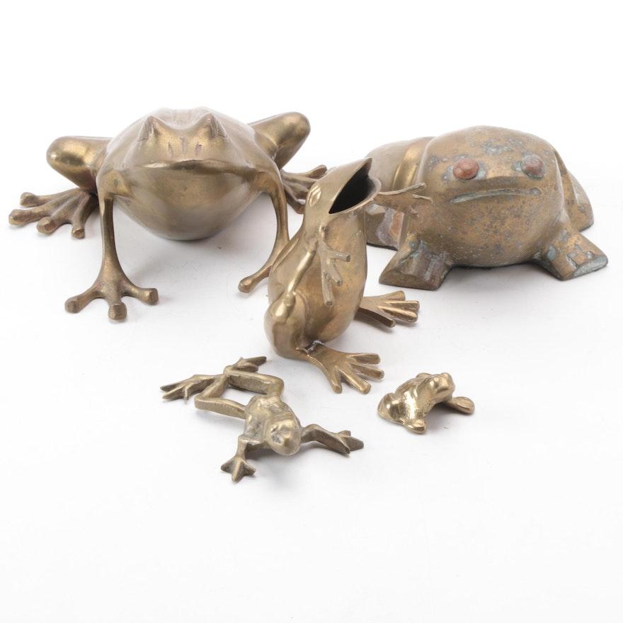 Brass Frog Figurines