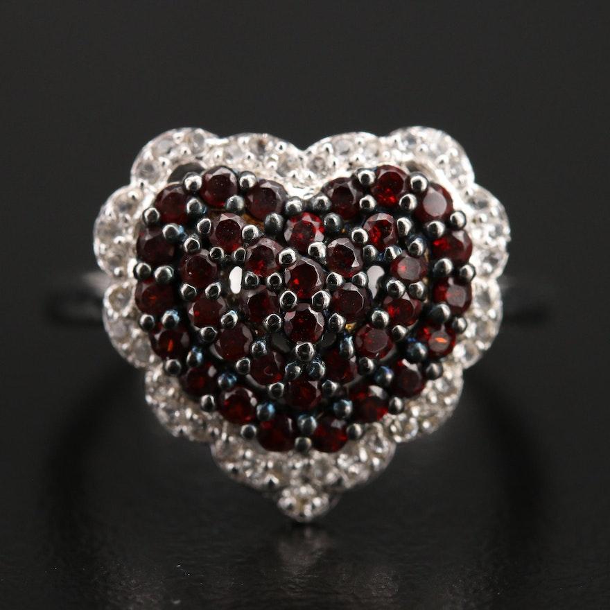 Sterling Pavé Garnet and Topaz Heart Ring