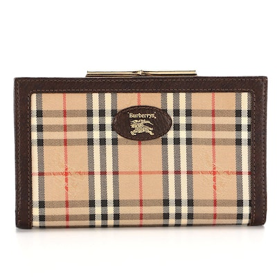 """Burberry """"Haymarket Check"""" Canvas and Leather Kiss Lock Clutch Wallet"""