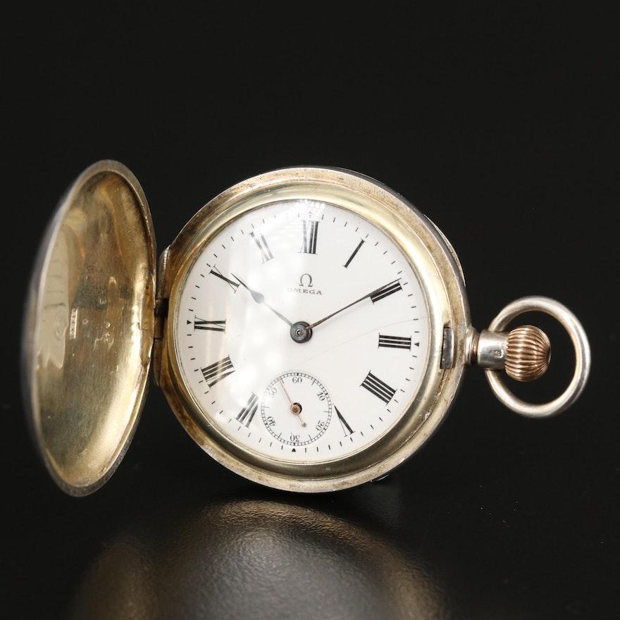 Antique Omega Sterling Silver Hunting Case Pocket Watch