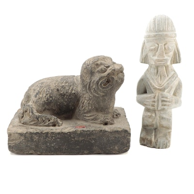 """Hand-Carved Clay and Soapstone Figurines of Guardian Dog """"Komainu"""" and Figure"""