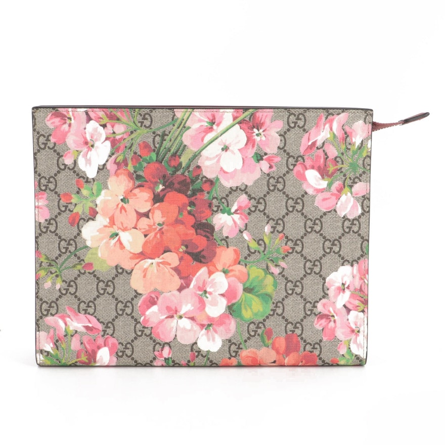 Gucci Large Cosmetic Case in GG Supreme Blooms Print Canvas