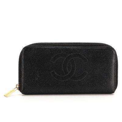 Chanel CC Black Caviar Leather Zip Wallet