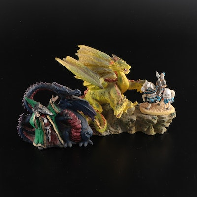 Knights, Dragons and Wizard Themed Fantasy Composite Figurines