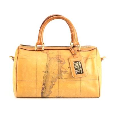Alviero Martini Geo Classic Coated Canvas and Leather Handbag