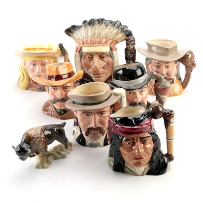 """Royal Doulton """"Wild West Collection"""" Character Mugs and Other Buffalo Figurine"""
