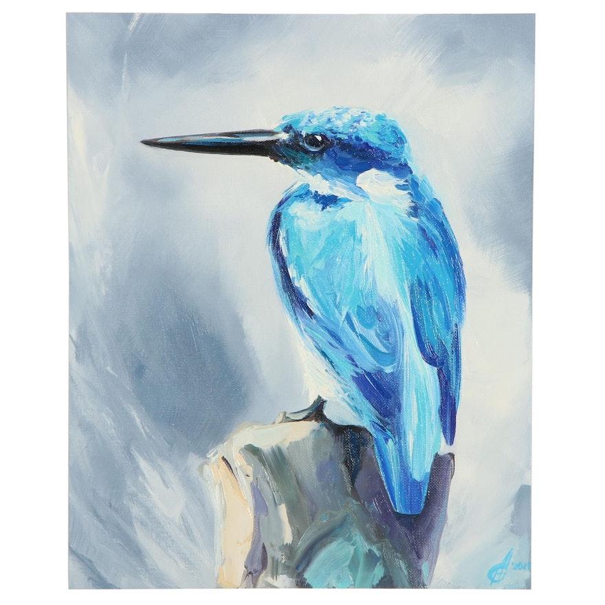 Alyona Glushchenko Oil Painting of Kingfisher, 21st Century